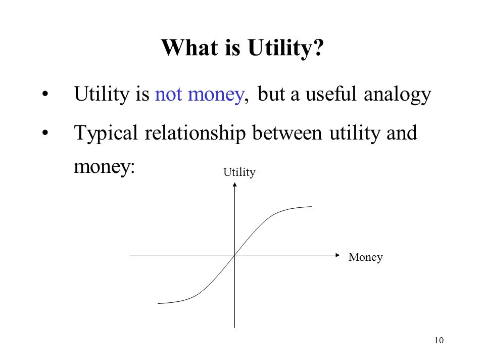 What is Utility Utility is not money, but a useful analogy