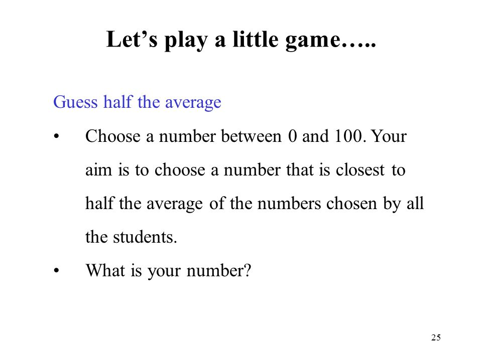 Let's play a little game…..