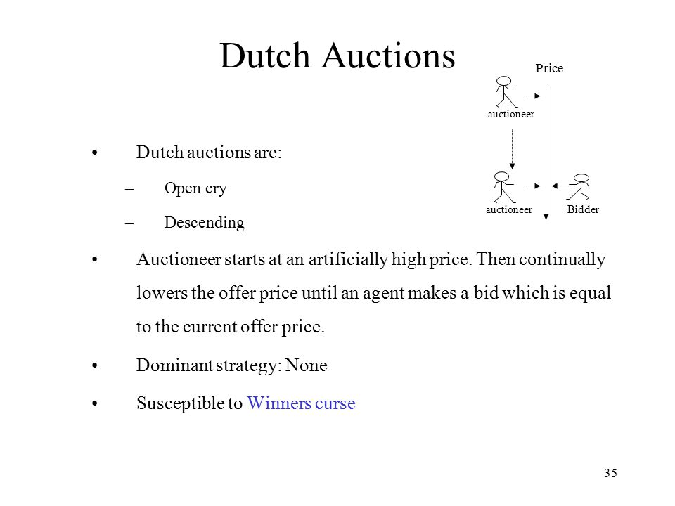 Dutch Auctions Dutch auctions are: