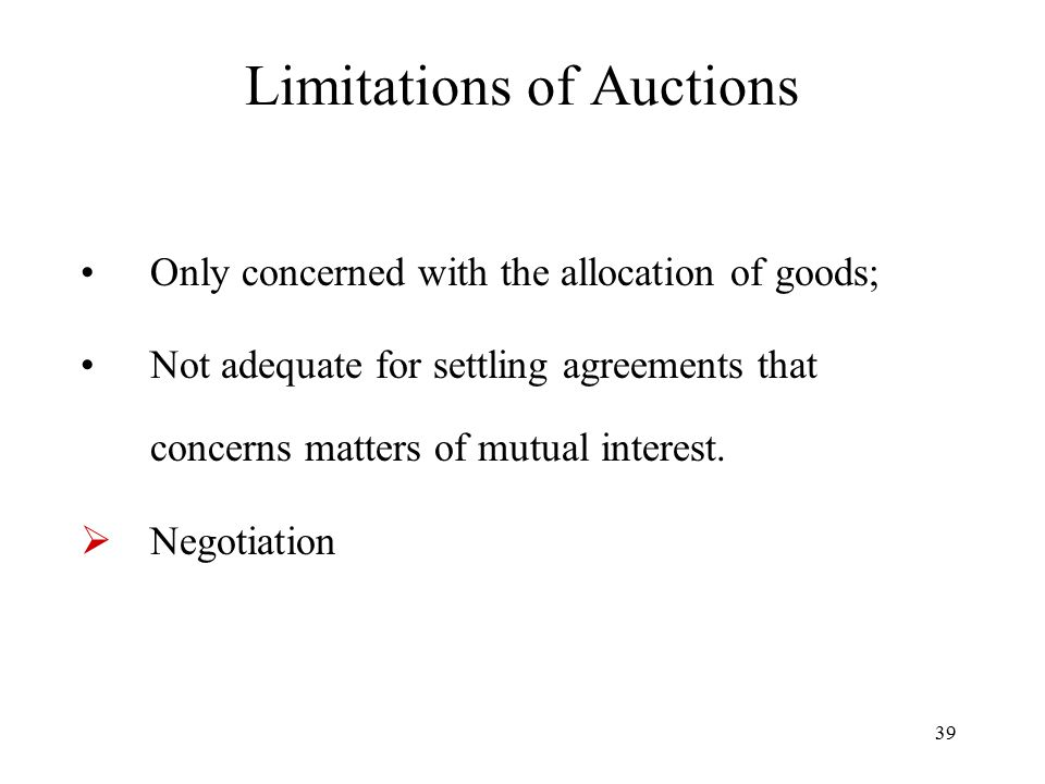 Limitations of Auctions