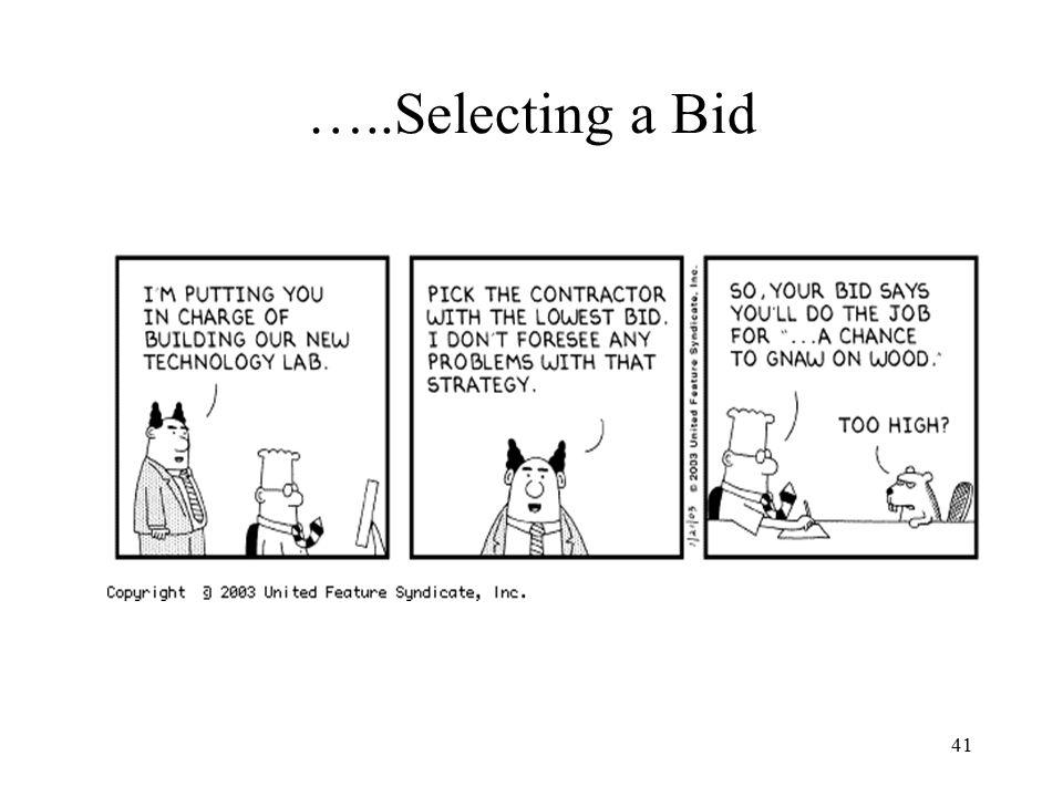…..Selecting a Bid