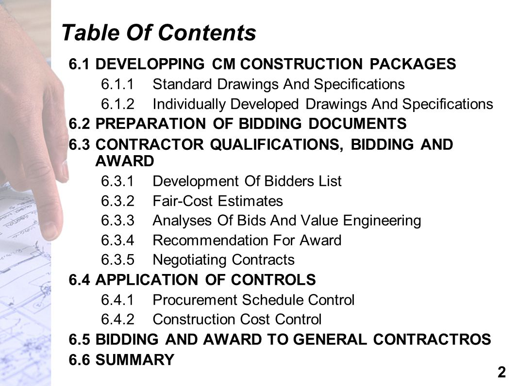 Table Of Contents 6.1 DEVELOPPING CM CONSTRUCTION PACKAGES