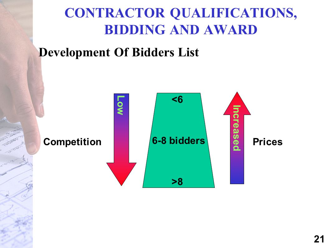 CONTRACTOR QUALIFICATIONS, BIDDING AND AWARD