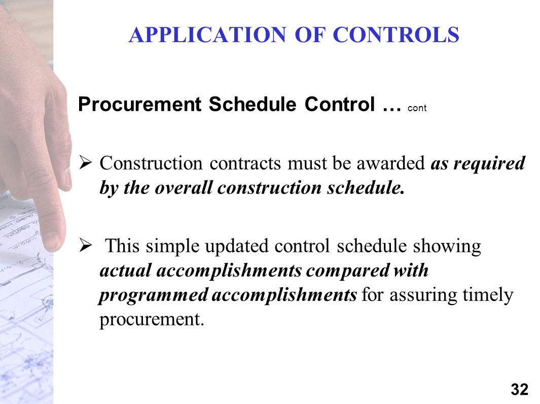 APPLICATION OF CONTROLS