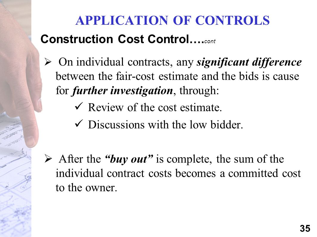 Construction Cost Control….cont