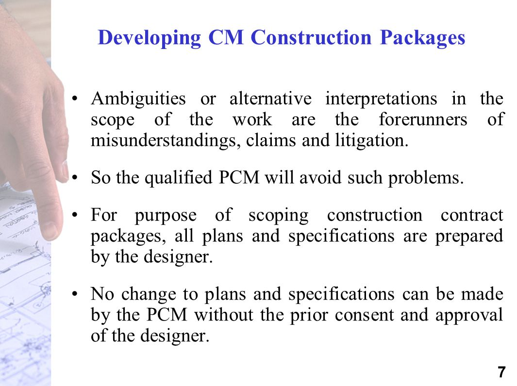 Developing CM Construction Packages