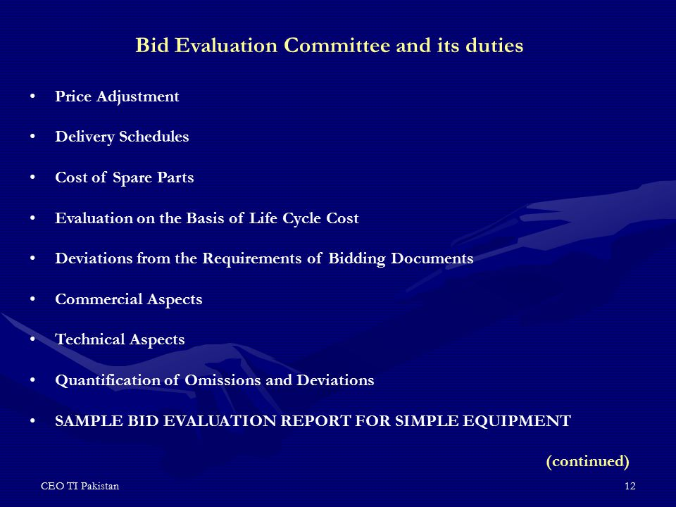 Bid Evaluation Committee and its duties