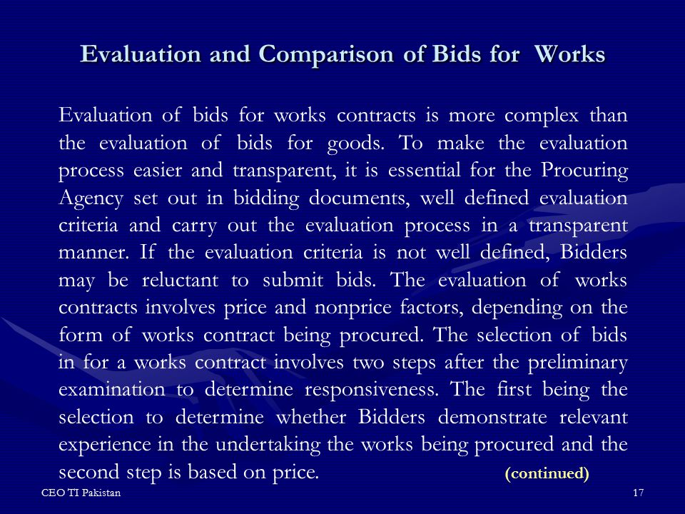 Evaluation and Comparison of Bids for Works