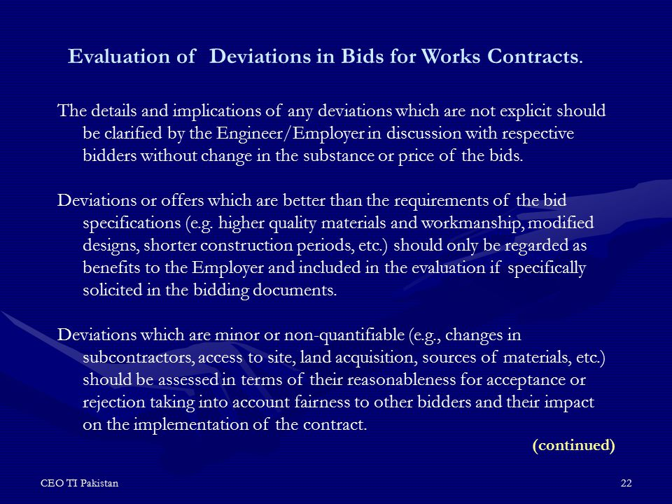 Evaluation of Deviations in Bids for Works Contracts.