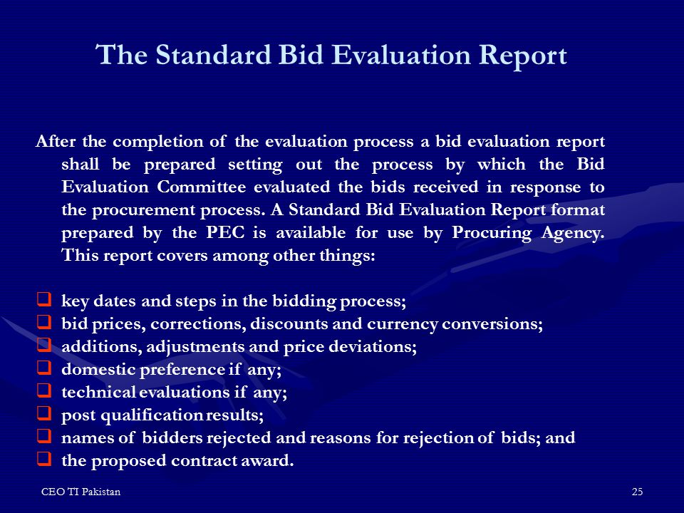 The Standard Bid Evaluation Report