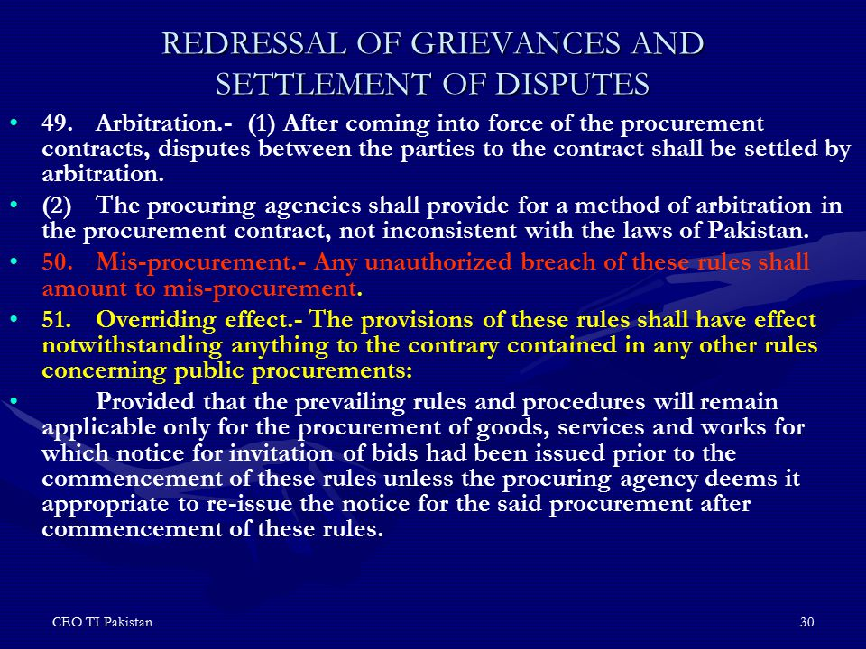 REDRESSAL OF GRIEVANCES AND SETTLEMENT OF DISPUTES
