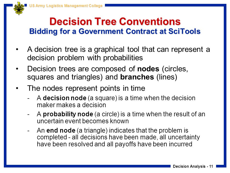 Decision Tree Conventions Bidding for a Government Contract at SciTools