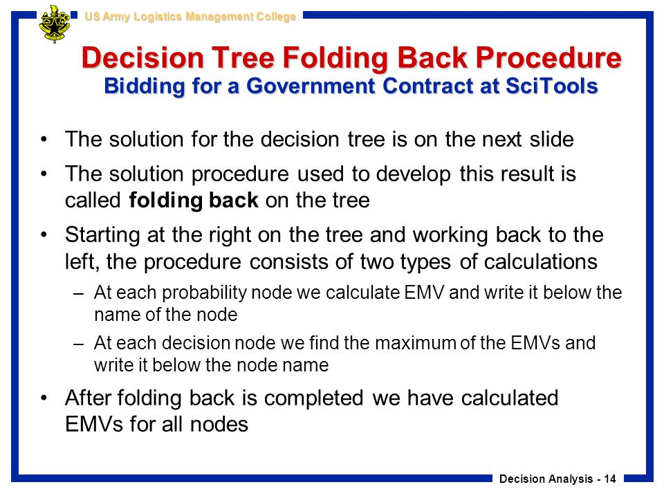 Decision Tree Folding Back Procedure Bidding for a Government Contract at SciTools
