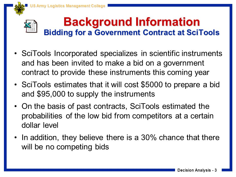 Background Information Bidding for a Government Contract at SciTools