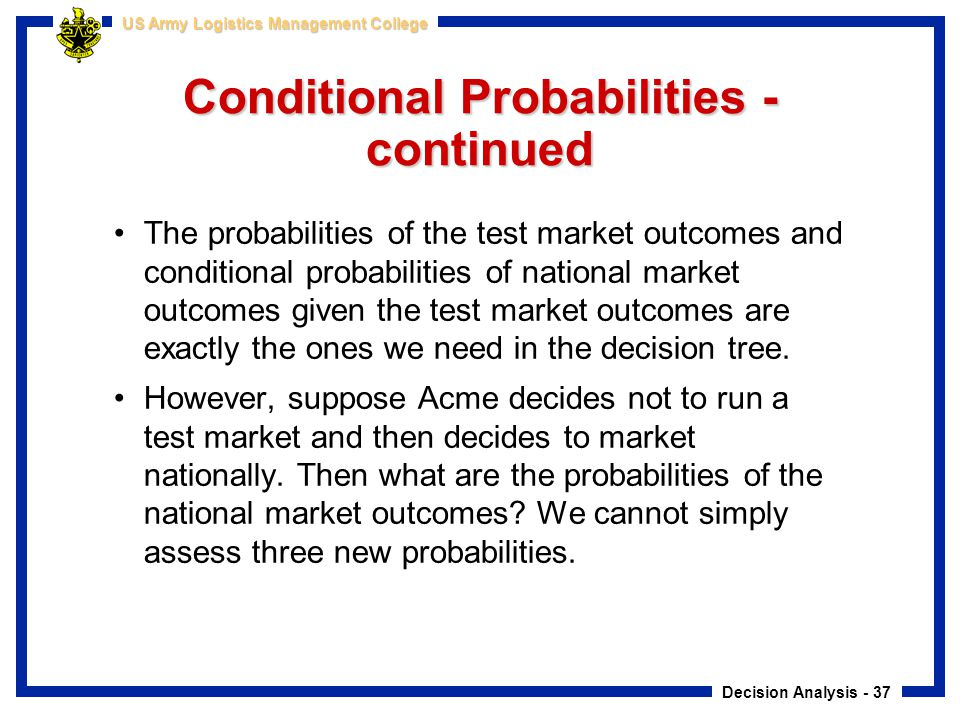 Conditional Probabilities - continued