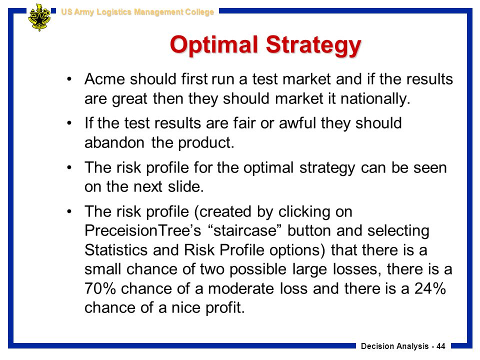 Optimal Strategy Acme should first run a test market and if the results are great then they should market it nationally.