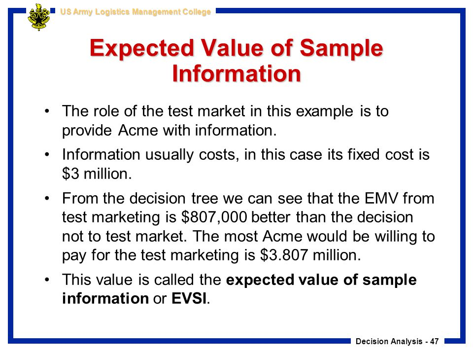 Expected Value of Sample Information