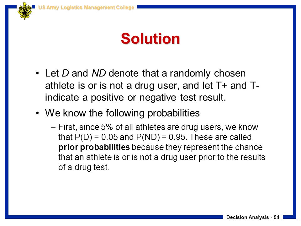 Solution Let D and ND denote that a randomly chosen athlete is or is not a drug user, and let T+ and T- indicate a positive or negative test result.