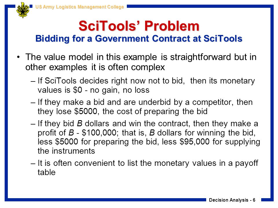 SciTools' Problem Bidding for a Government Contract at SciTools
