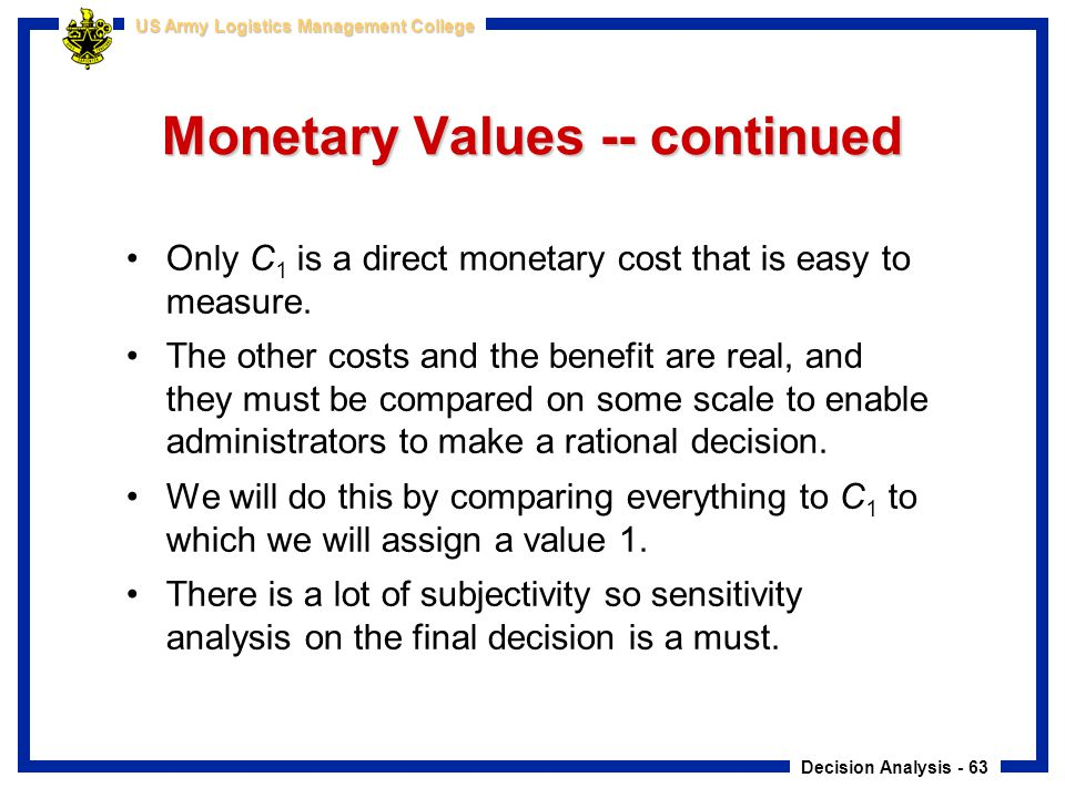 Monetary Values -- continued