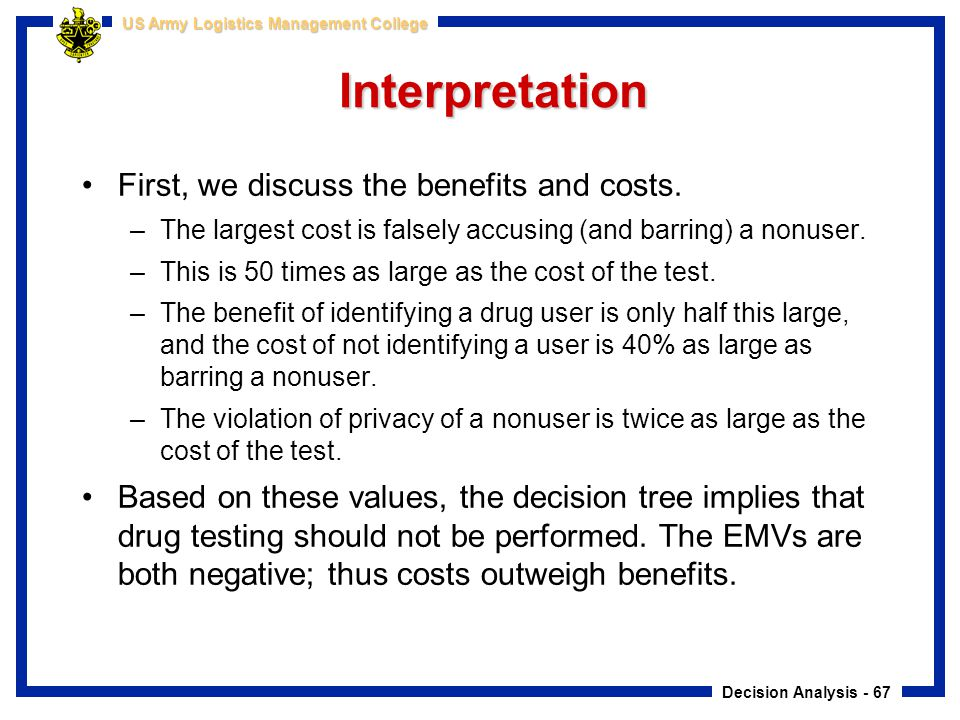 Interpretation First, we discuss the benefits and costs.