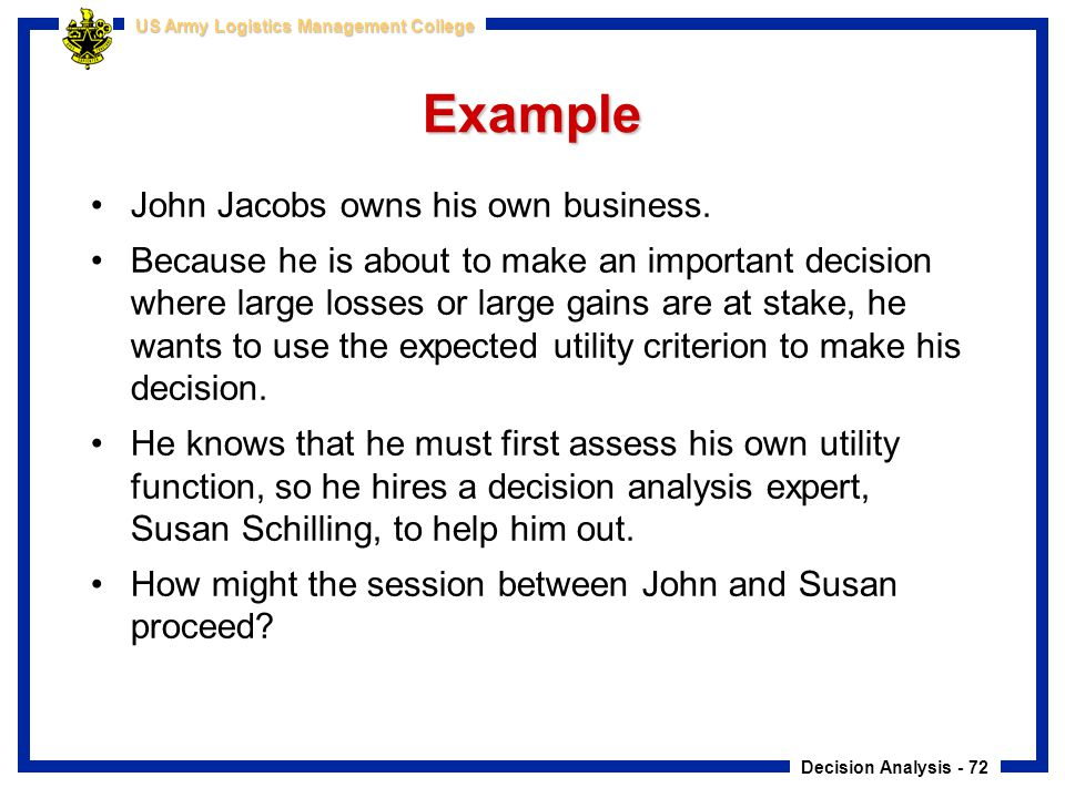 Example John Jacobs owns his own business.