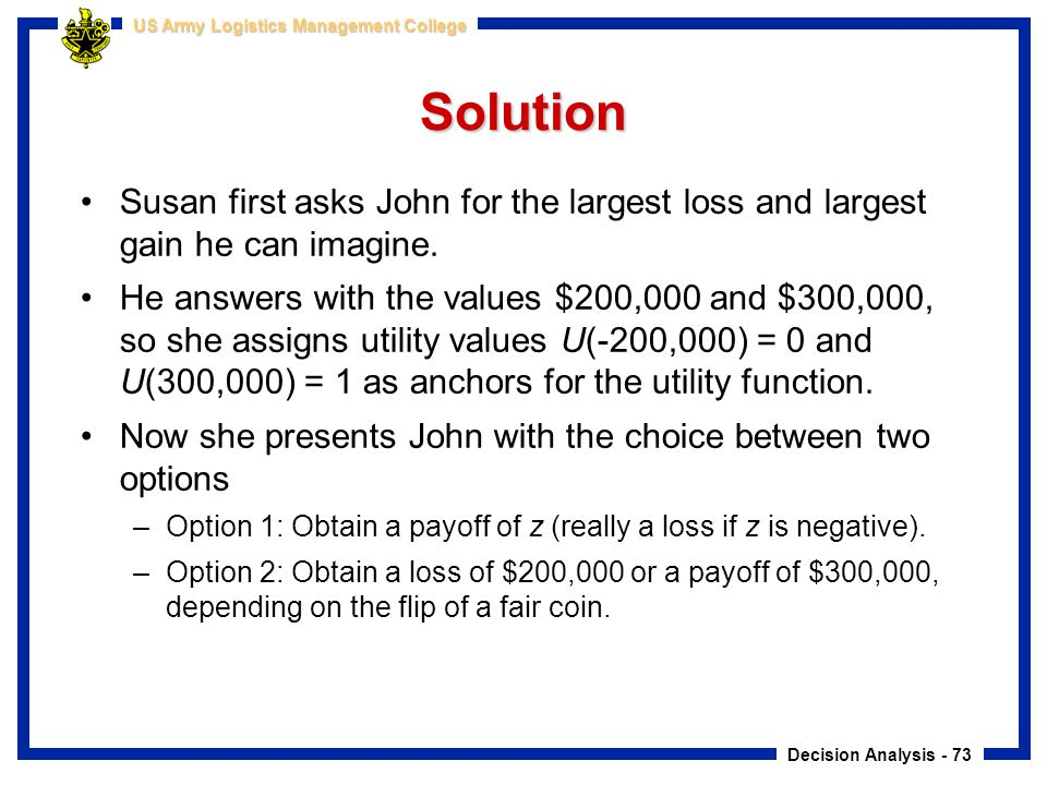 Solution Susan first asks John for the largest loss and largest gain he can imagine.