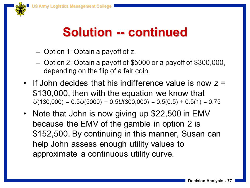 Solution -- continued Option 1: Obtain a payoff of z.