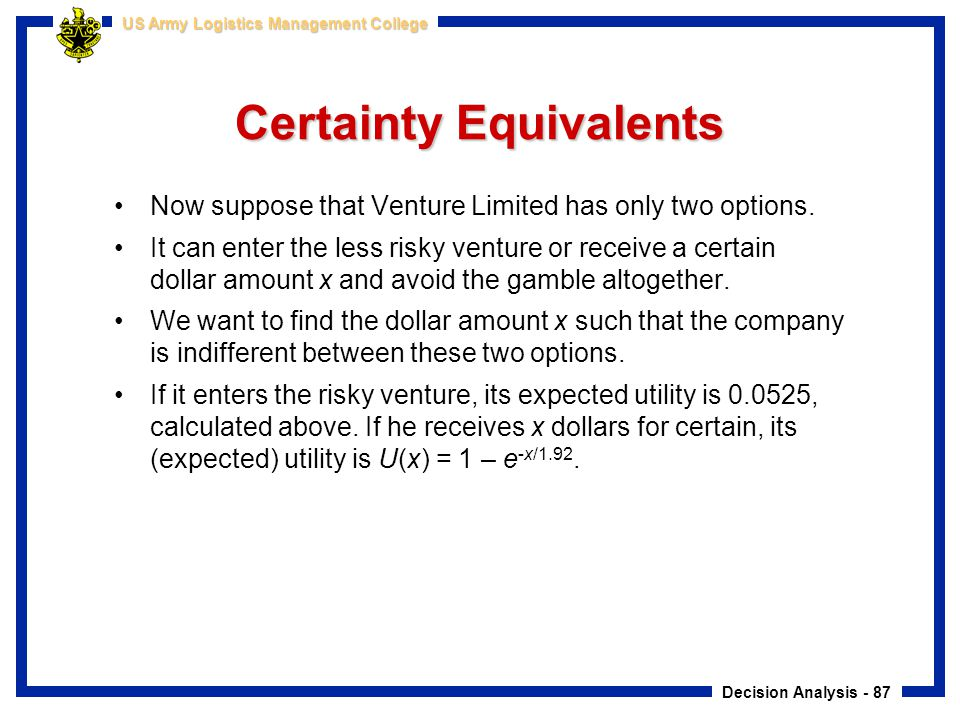 Certainty Equivalents