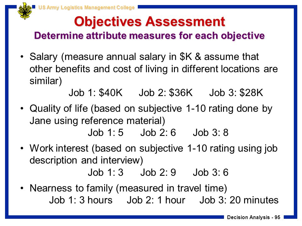 Objectives Assessment Determine attribute measures for each objective