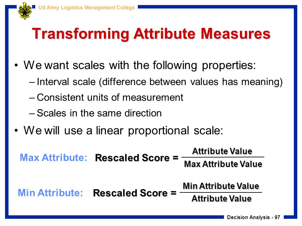Transforming Attribute Measures