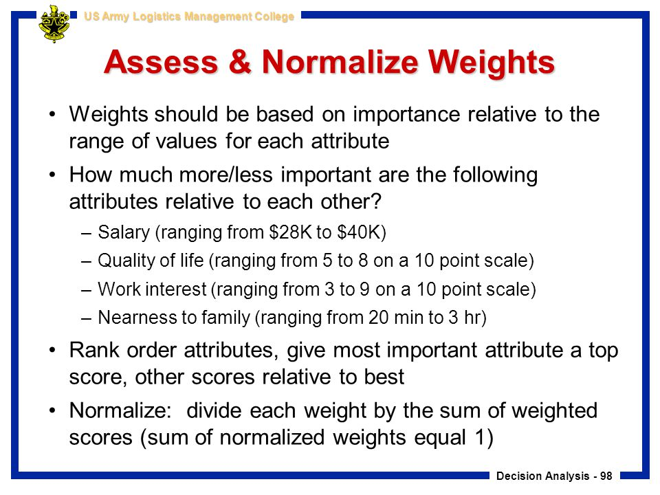 Assess & Normalize Weights