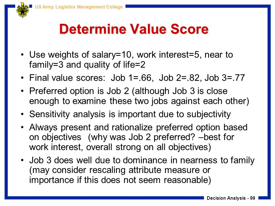 Determine Value Score Use weights of salary=10, work interest=5, near to family=3 and quality of life=2.