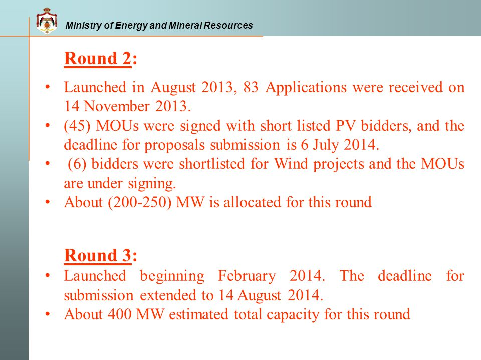 Round 2: Launched in August 2013, 83 Applications were received on 14 November 2013.