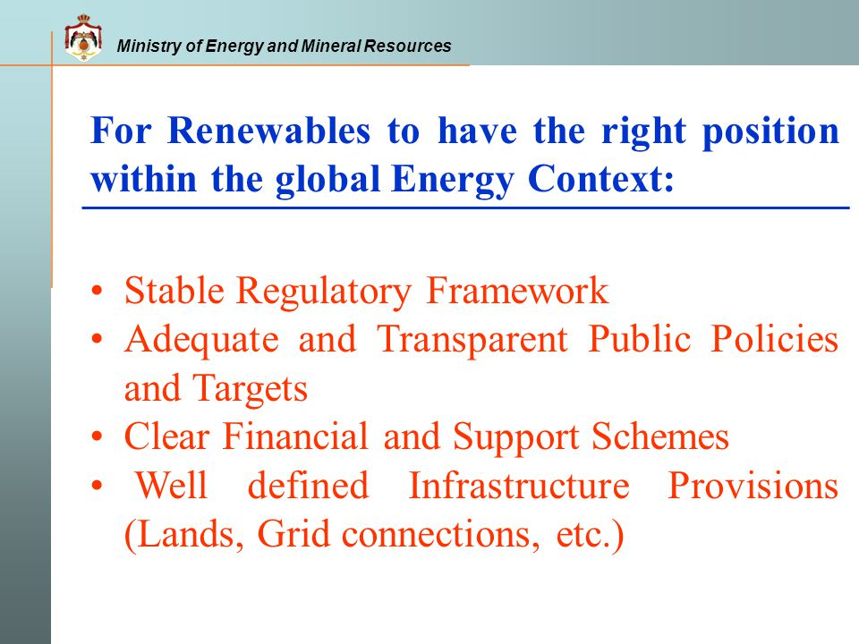 For Renewables to have the right position within the global Energy Context: