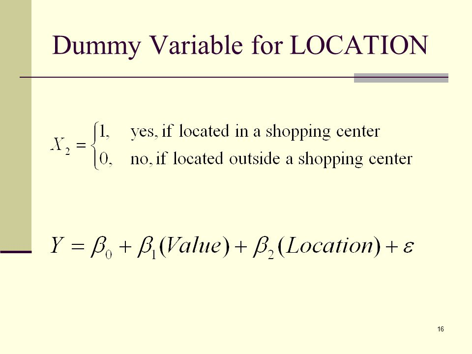 Dummy Variable for LOCATION