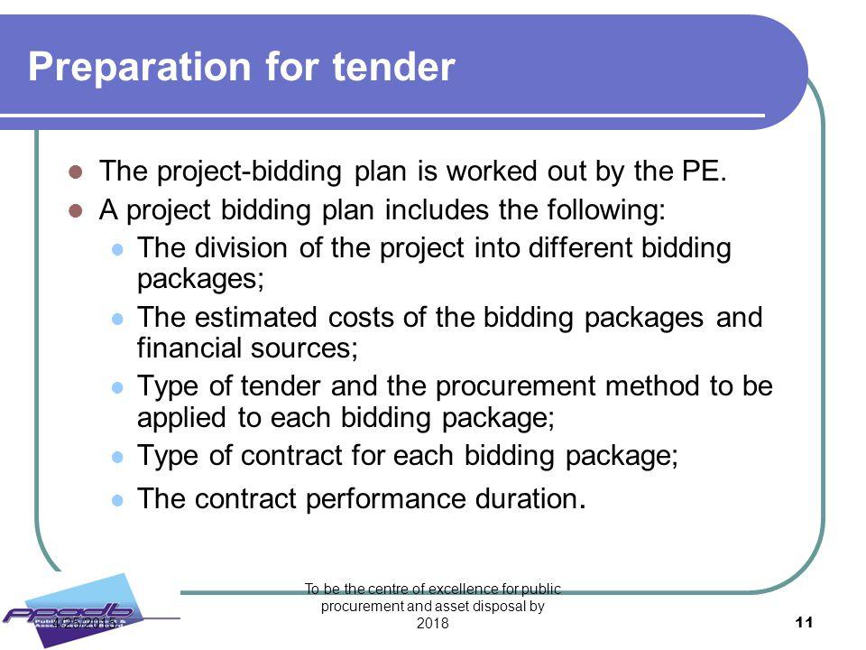 Preparation for tender