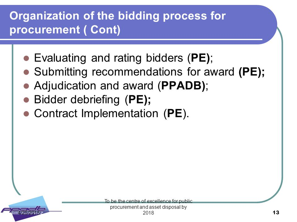 Organization of the bidding process for procurement ( Cont)