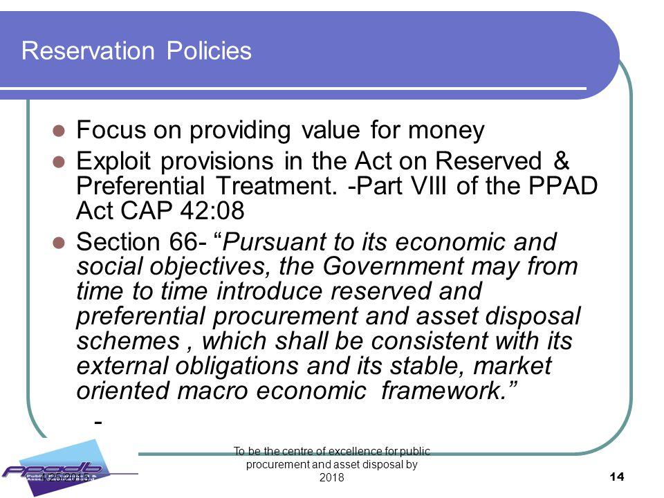 Focus on providing value for money