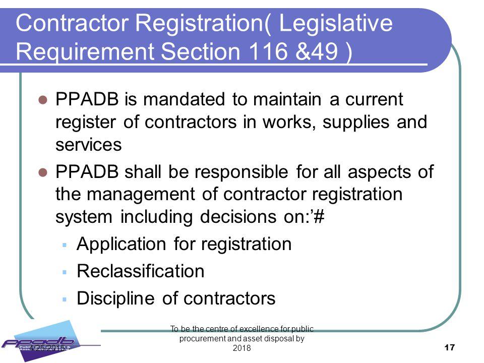 Contractor Registration( Legislative Requirement Section 116 &49 )