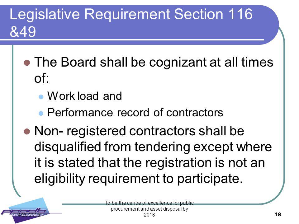 Legislative Requirement Section 116 &49