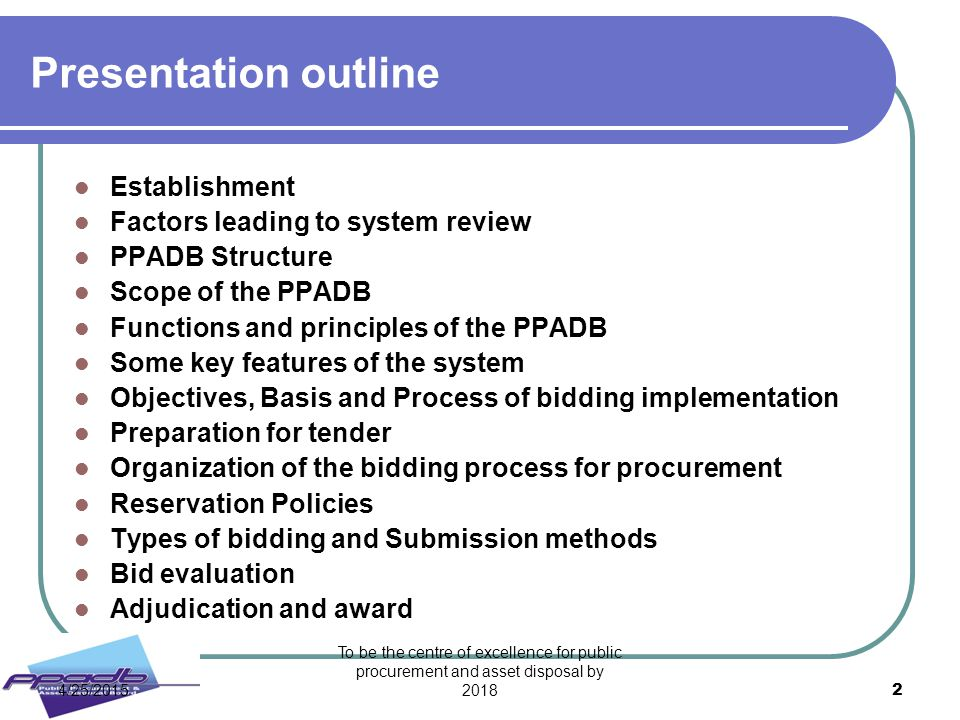 Presentation outline Establishment Factors leading to system review