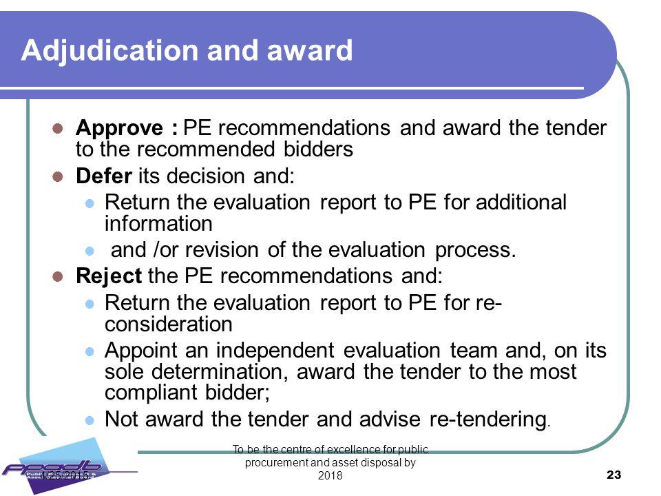 Adjudication and award