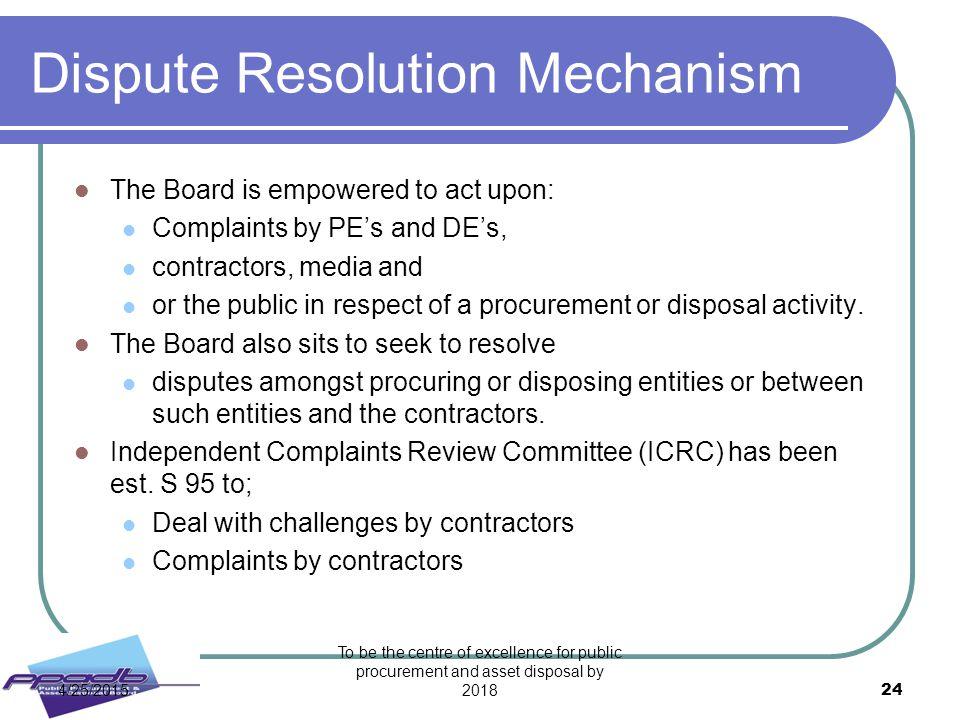 Dispute Resolution Mechanism