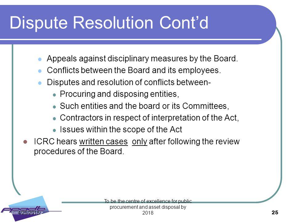 Dispute Resolution Cont'd