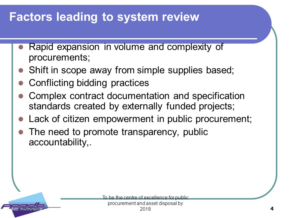Factors leading to system review