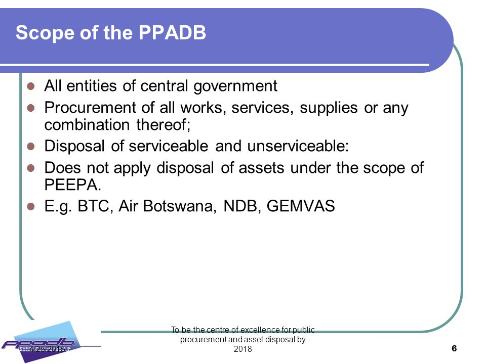 Scope of the PPADB All entities of central government