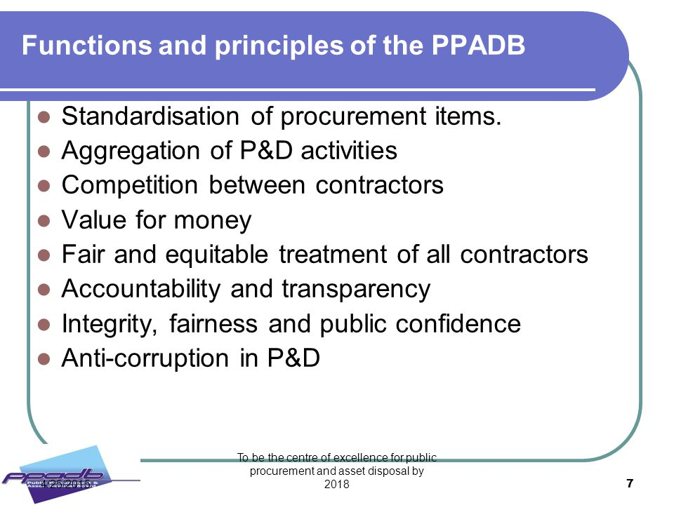 Functions and principles of the PPADB