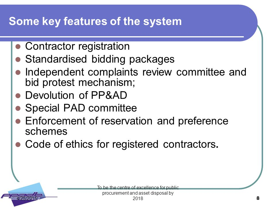 Some key features of the system