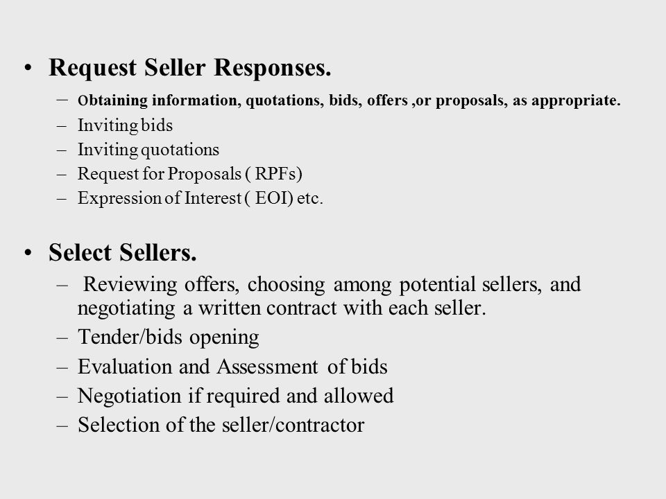 Request Seller Responses.